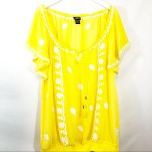 Torrid yellow peasant top size 3
